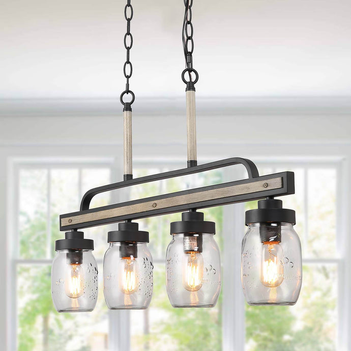 MASON JAR LINEAR PENDANT LIGHT - 4 LIGHTS - Exquisite Home Furnishings Powered by IEE Brothers LLC
