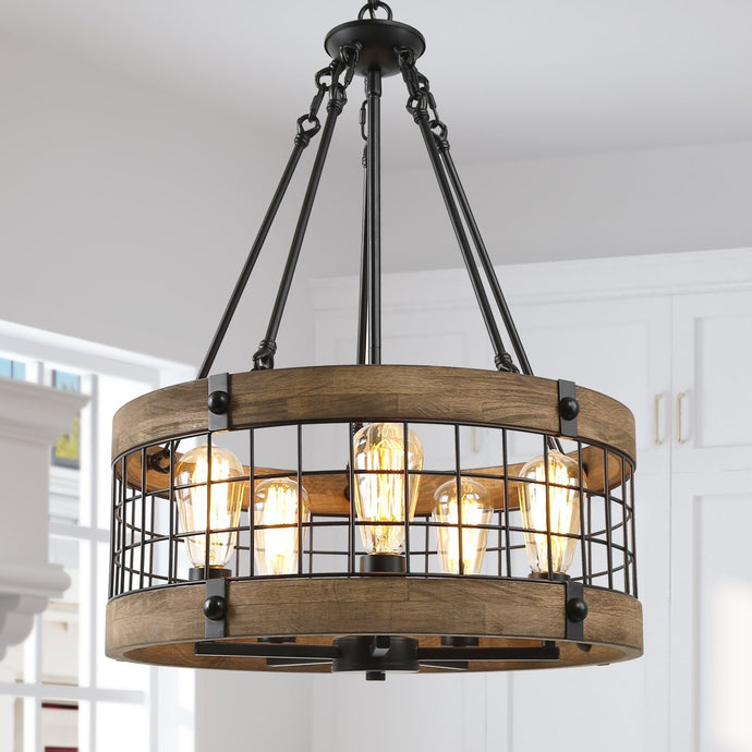 WOOD DRUM HANGING PENDANT - Exquisite Home Furnishings Powered by IEE Brothers LLC