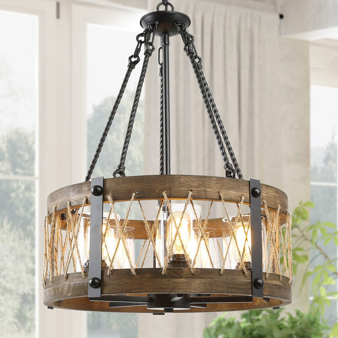 FARMHOUSE WOOD DRUM PENDANT LIGHT - Exquisite Home Furnishings Powered by IEE Brothers LLC
