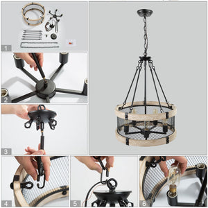 WOOD DRUM CHANDELIER - Exquisite Home Furnishings Powered by IEE Brothers LLC