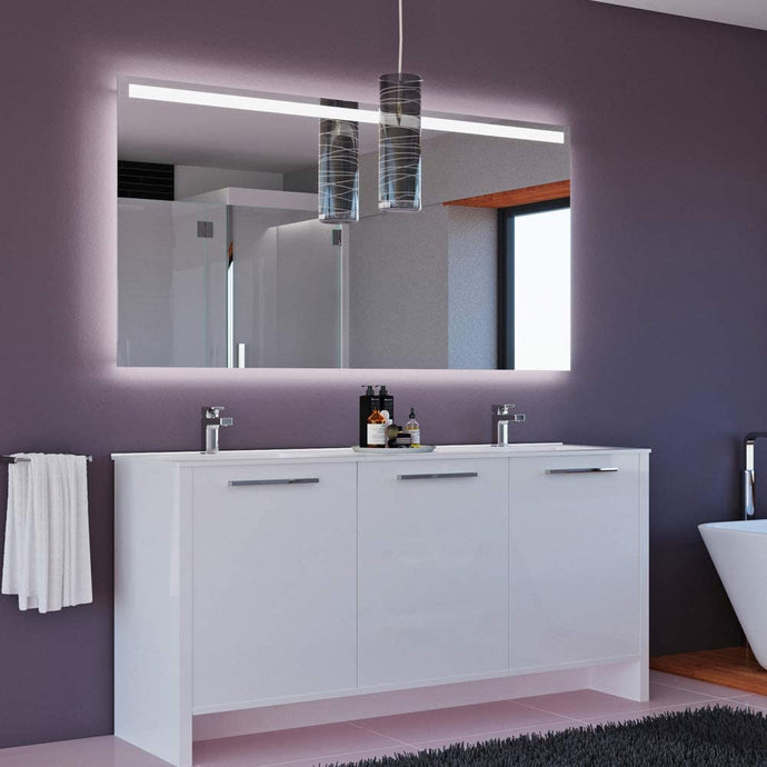 BENNA BATHROOM VANITY AND DOUBLE SINK COMBO WITH LED MIRROR - Exquisite Home Furnishings Powered by IEE Brothers LLC