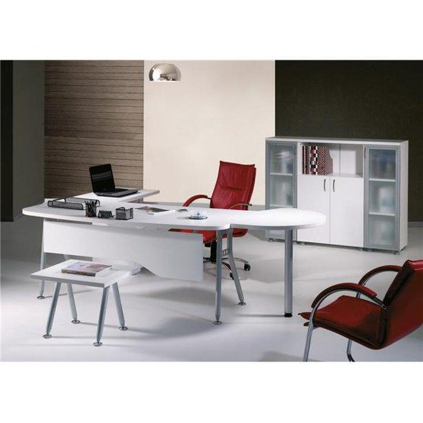 MODERN CLOVER 71 IN. WHITE AND METALIC GREY L SHAPED HOME OFFICE FURNITURE (SET OF 6) - Exquisite Home Furnishings Powered by IEE Brothers LLC