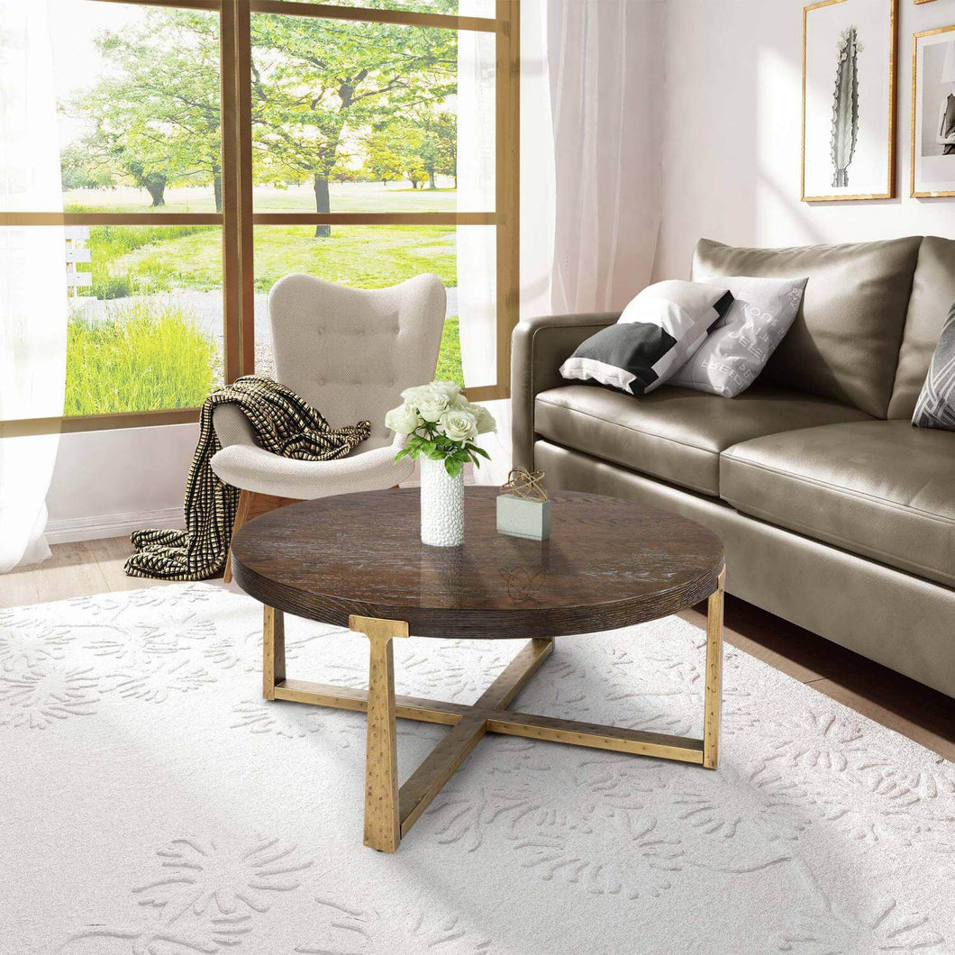 ROUND CONCRETE WOOD COFFEE TABLE - Exquisite Home Furnishings Powered by IEE Brothers LLC