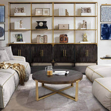 Load image into Gallery viewer, ROUND CONCRETE WOOD COFFEE TABLE - Exquisite Home Furnishings Powered by IEE Brothers LLC