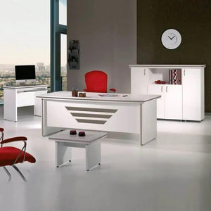 MODERN NEW STAR 71 IN. WHITE DESK OFFICE SUITE FURNITURE (SET OF 5) - Exquisite Home Furnishings Powered by IEE Brothers LLC