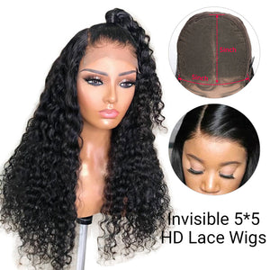 5*5 Invisible HD Lace Closure Wigs Virgin Deep Wave