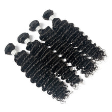 Load image into Gallery viewer, 3 Bundles Of Virgin Indian Deep Wave Hair With Lace Frontal