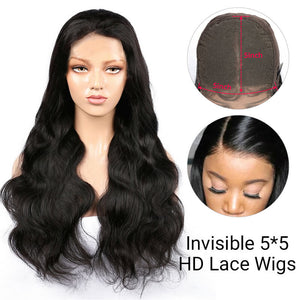 5*5 HD Lace Closure Wigs Virgin Body Wave Hair