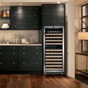 92 Bottle Built-in Stainless Steel Dual Zone Compressor Wine Refrigerator by Whynter (Available 11/25/20)