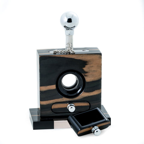 Image of Lacquered Gold & Black Wood Table Top Guillotine Cutter by Bey-Berk