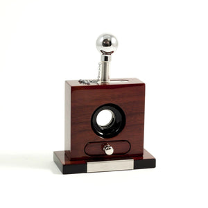 Lacquered Walnut Wood Table Top Guillotine Cutter by Bey-Berk