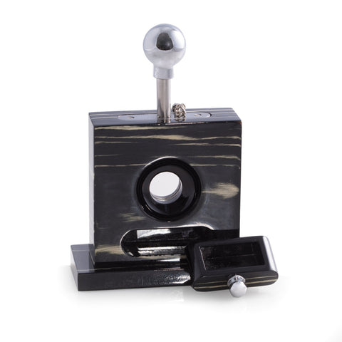 Lacquered Ebony Wood Table Top Guillotine Cutter by Bey-Berk