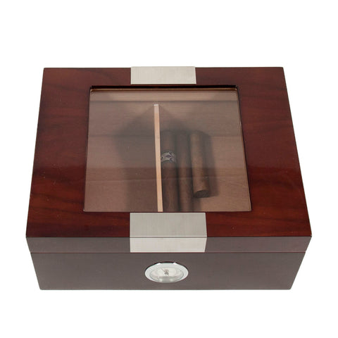 Cedar Lined Glass Top Walnut Humidor by Bey-Berk
