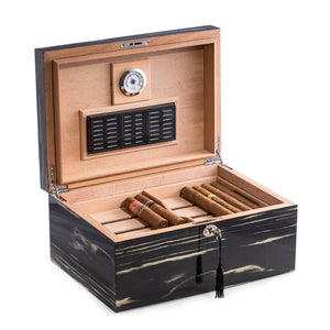 Lacquered Striped Ebony Wood Cigar Humidor by Bey-Berk