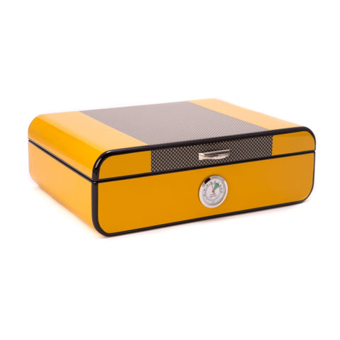 Image of Carbon Fiber & Yellow Lacquered Humidor by Bey-Berk