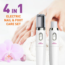 Load image into Gallery viewer, Electric Nail File Kit & Callus Remover (4 in 1) Best Pedicure Tools to Polish Nails - Perfect Manicure & Pedi Foot Care Set