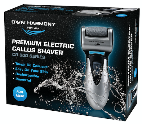Electric Foot Callus Remover CR900 Series for Men by Own Harmony with 3 rollers - Perfect for Hard Cracked Skin