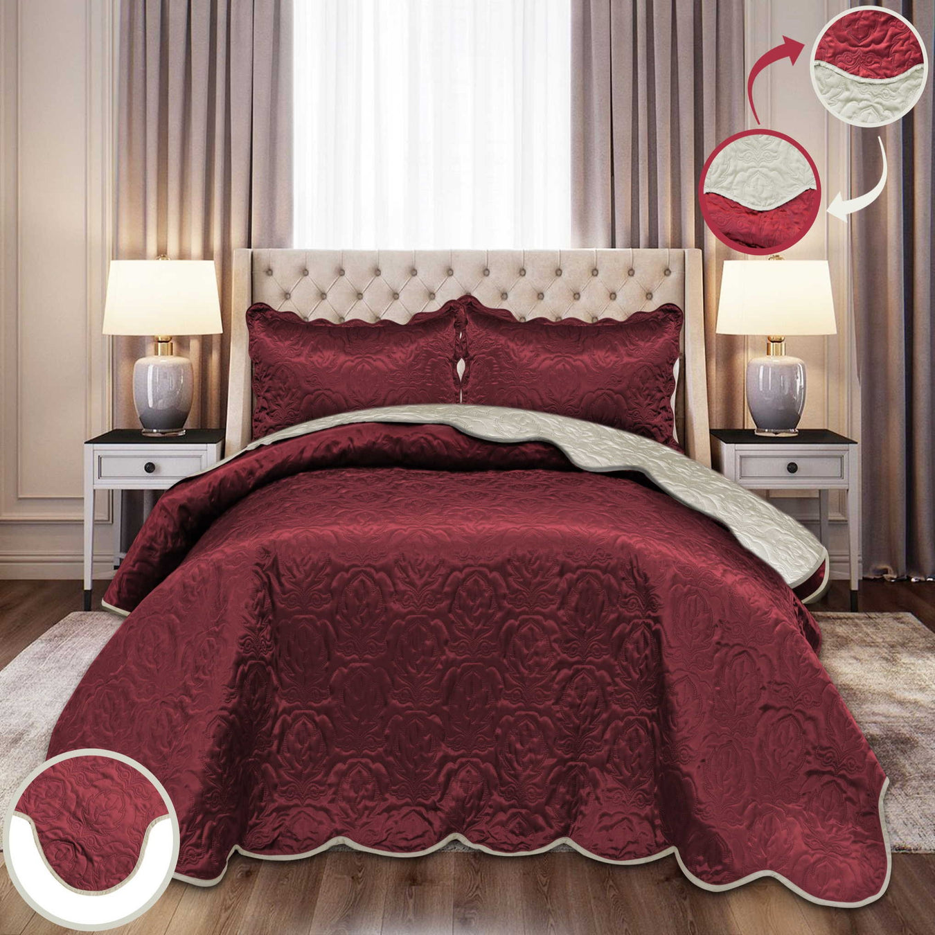 Ultrasonic Satin Bedspreads