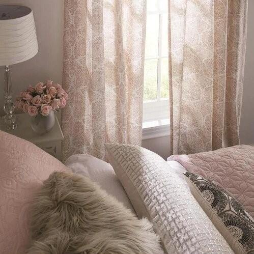 Lapeer Blush Cotton Light Filtering Single Curtain Panel - Cotton Passion