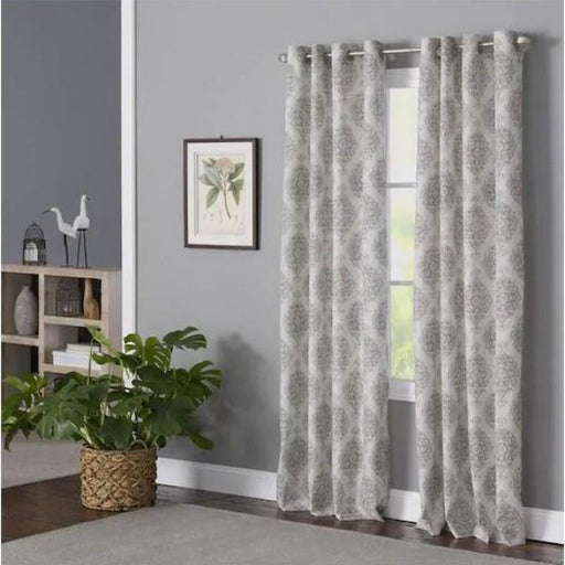 Zoe Blue Polyester Light Filtering Single Curtain Panel - Cotton Passion