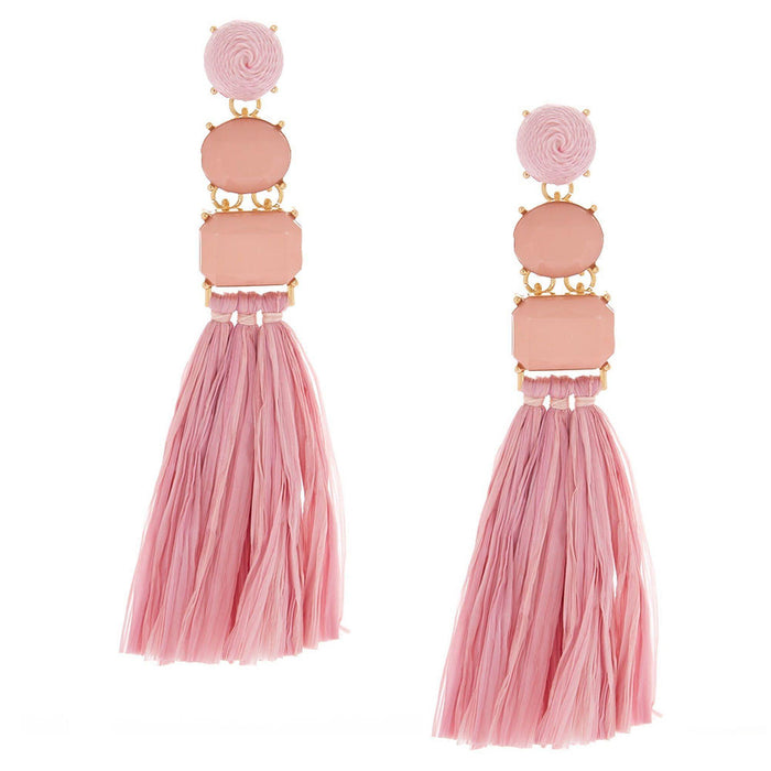 Raffia Drop Earrings - Pink - Cotton Passion