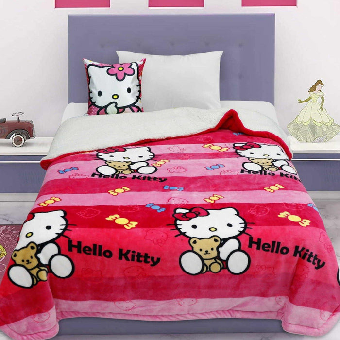 Striped Red and Pink Hello Kitty Sherpa Blanket - Cotton Passion