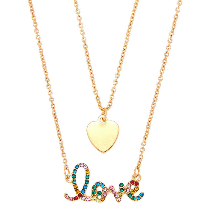 Gold Rainbow Love Pendant Necklace Set - 2 Pack - Cotton Passion