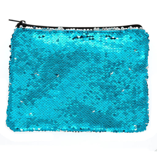 Reversible Sequin Makeup Bag - Turquoise - Cotton Passion