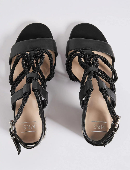 Block Heel Rope Sandals Black - Cotton Passion