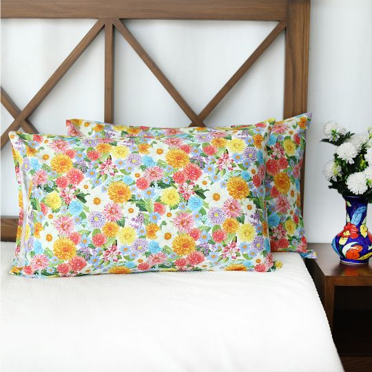 Flowers Garden Cotton Pillow Covers