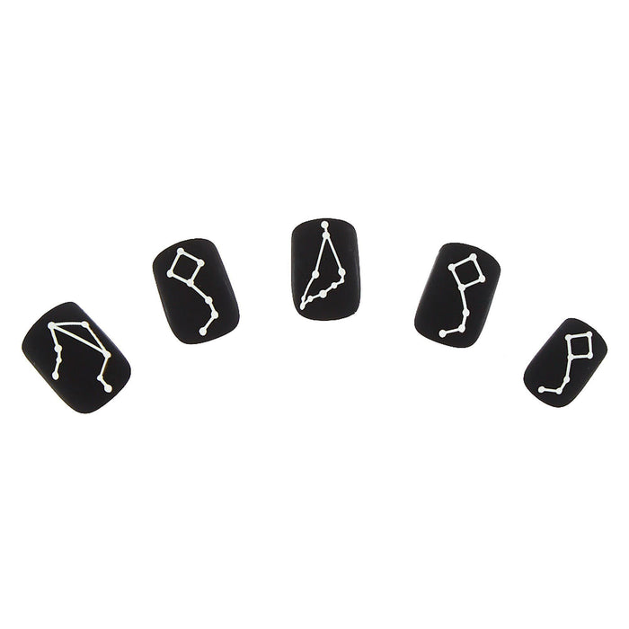 Matte Constellation Faux Nail Set - Black - Cotton Passion