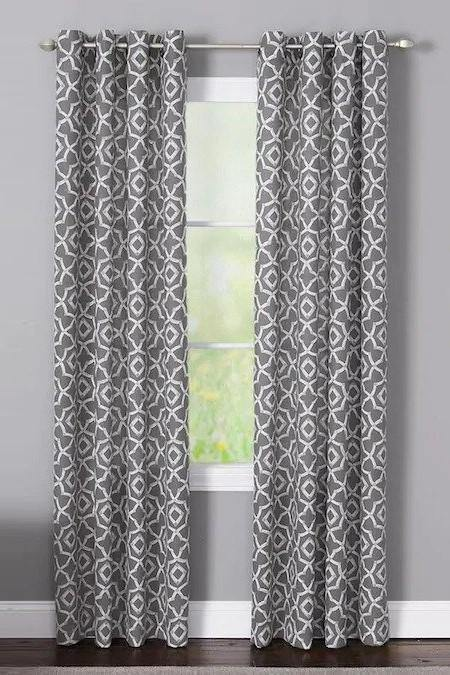 Branford Charcoal Polyester Light Filtering Single Curtain Panel - Cotton Passion