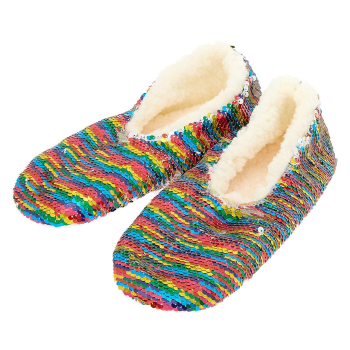 Reversible Sequin Slippers - Rainbow - Cotton Passion