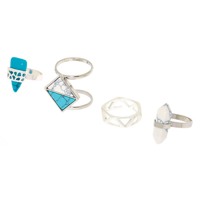 Silver Geometric Marble Rings - Turquoise, 4 Pack - Cotton Passion