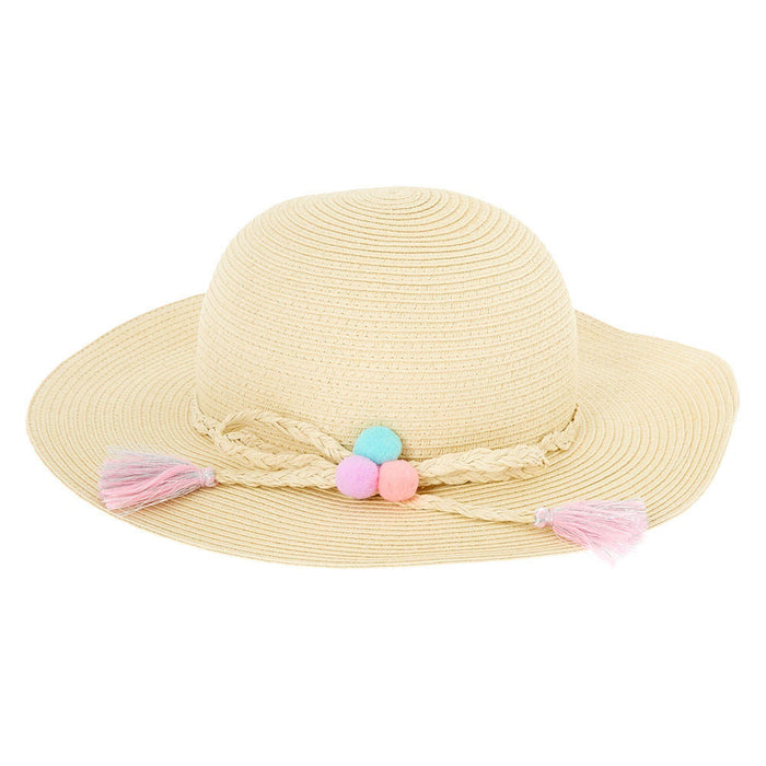 Claire's Club Pom Pom Floppy Straw Hat - Tan - Cotton Passion