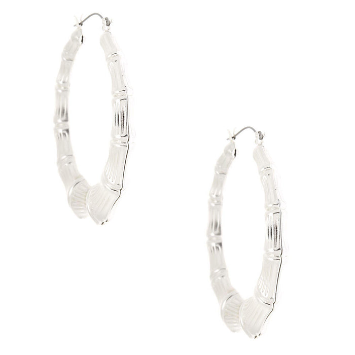 Silver 60MM Bamboo Hoop Earrings - Cotton Passion