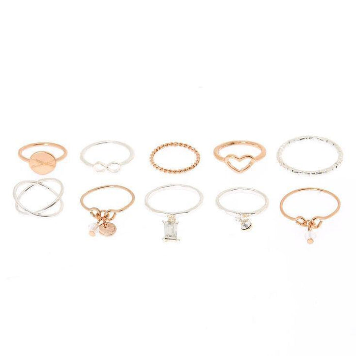 Mixed Metal Charm Multi-Size Rings - 10 Pack - Cotton Passion