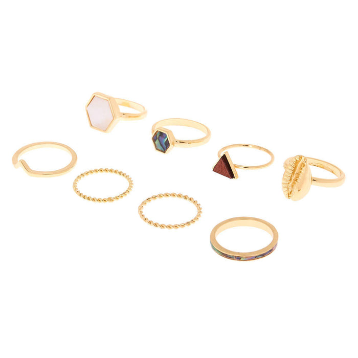 Gold Natural Elements Rings - 8 Pack - Cotton Passion