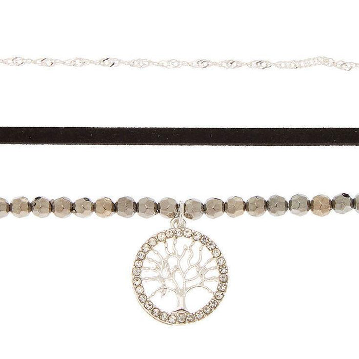 Silver Bead Tree of Life Choker Necklaces - 3 Pack - Cotton Passion