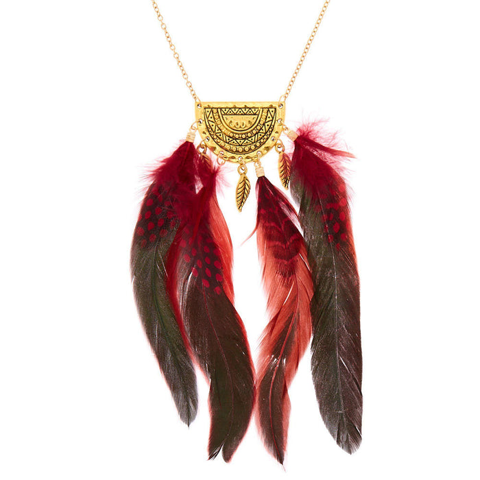 Gold Polka Dot Feather Long Pendant Necklace - Red - Cotton Passion