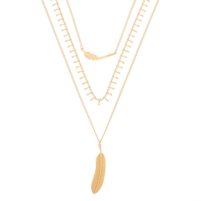 Gold Feather Multi Strand Necklace - Cotton Passion