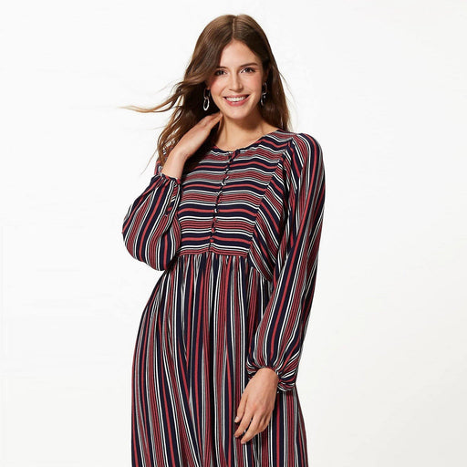 Striped Relaxed Midi Dress - Cotton Passion