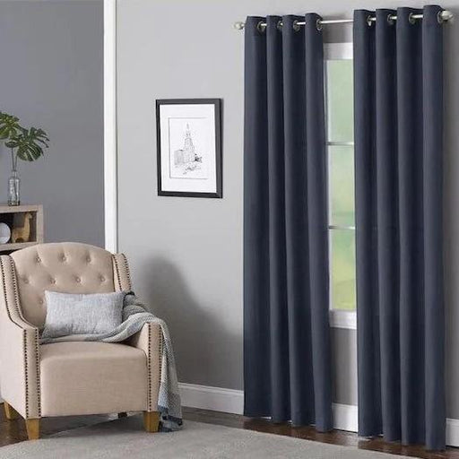 Delmar Navy Polyester Light Filtering Single Curtain Panel - Cotton Passion