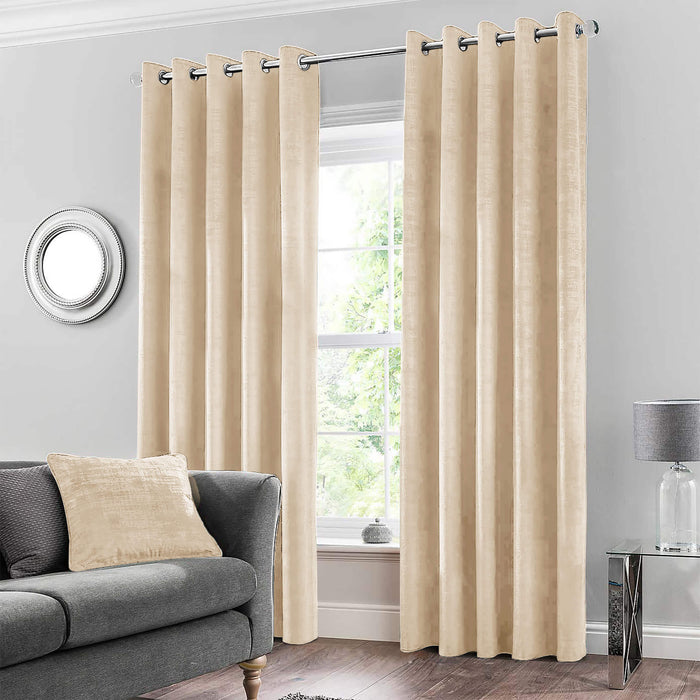 Ultrasoft & Fine Grommet Top Velvet Curtain Panels Beige