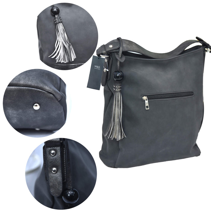 M&S Black and Grey Leather Bag with Tassel