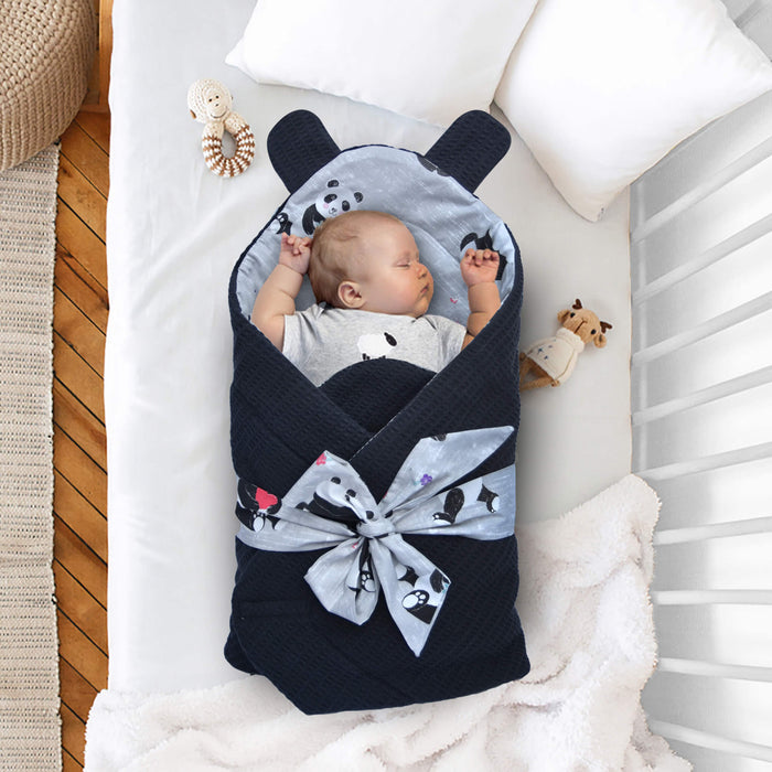 Black Panda Bear Ears Baby Wraps - Cotton Passion