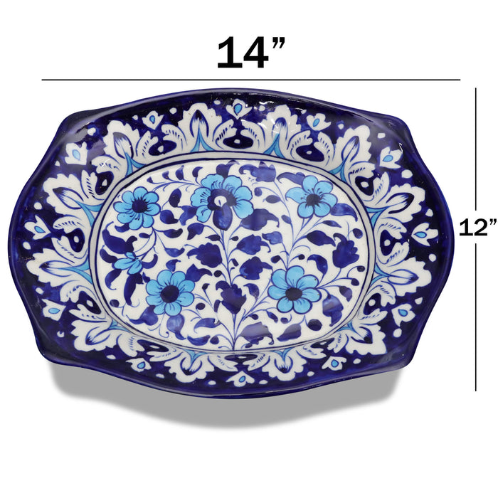 Floral Ceramic Deep Dish Blue
