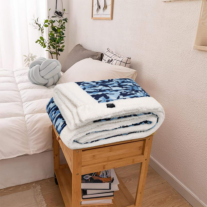 All Seasons Ultrasoft Camouflage Blue Printed Sherpa Blanket