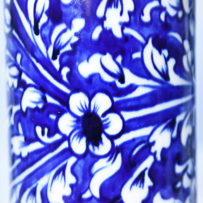 Floral Blue Cylindrical Medium Vase