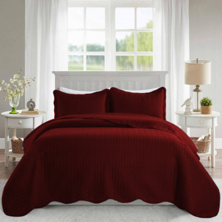 Ultrasonic Quilted Bedspread Deep Red - Cotton Passion